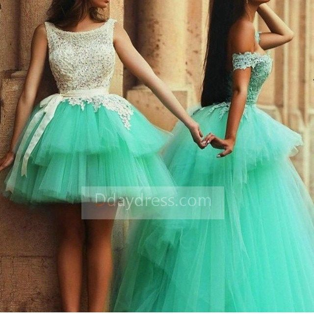 Mint Green layered Short and Long Backless Ball Gown Quinceanera Dress ItemGr0037 #Mint # Green #Short #long #backlessdress #ballgown #Quinceanera