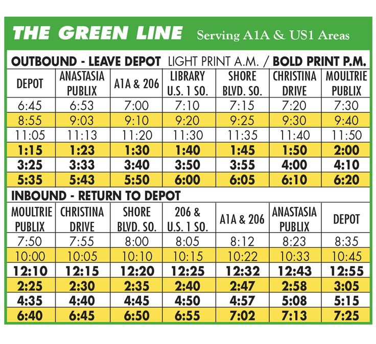 Schedule - The Sunshine Bus Company - St. Johns County's Public Bus System