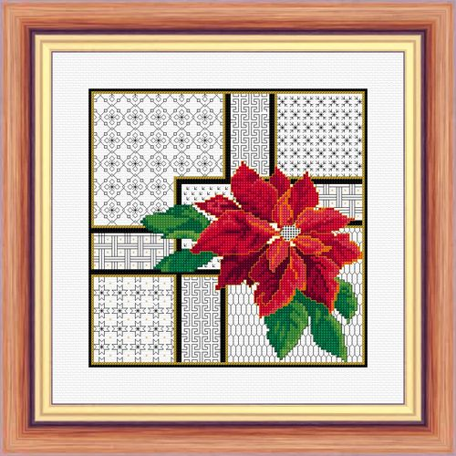 Poinsettia and Blackwork - Chart Only