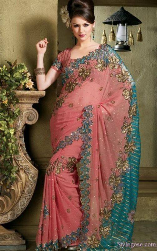 Peach and teal Sari #indian
