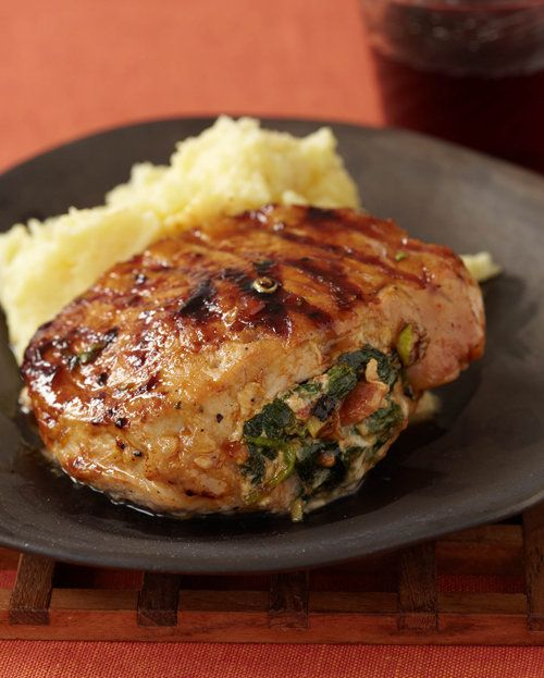 Stuffed Grilled Boneless Pork Chops with Hickory Bacon, Smoked Gouda ...