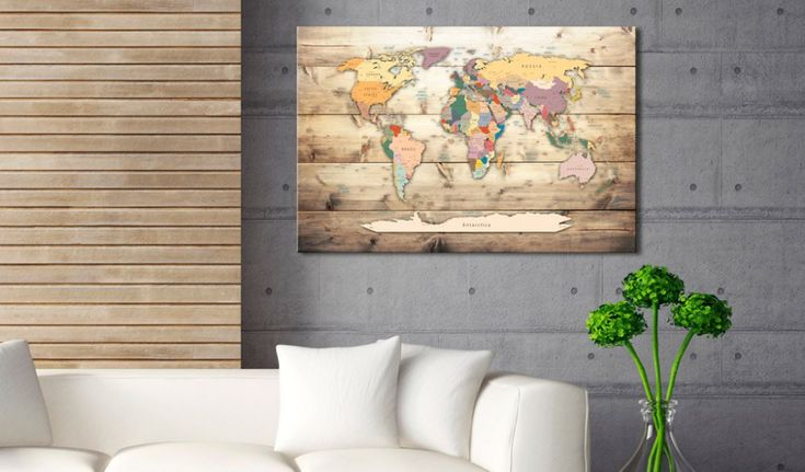 Obraz na korku - The World at Your Fingertips #mapart #domov #decor #korek #design #travel #pin #wall #cork #colorful