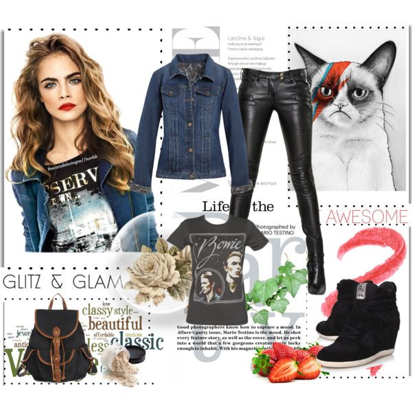 """Cara meets Bowie"" by niamhdevereux on Polyvore"