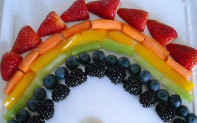 Rainbow Fruit and Veggie Plate Ideas | Add a little fun to your fruit and veggie plate by turning it into a rainbow. For a fun addition, put some 'gold coins' at the end of the rainbow! There are so many possibilities with putting this plate together and whether you are completely authentic and do all 7 colors of the... | http://www.natural-holistic-health.com/rainbow-fruit-and-veggie-plate-ideas/