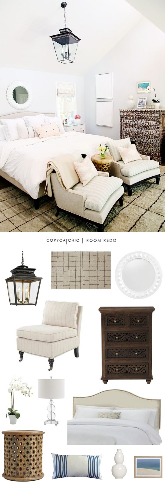 Copy Cat Chic: Copy Cat Chic Room Redo | Eclectic Ivory Bedroom by @audreycdyder