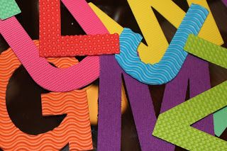 Using textured foam and the school die-cut to make letters for the kids to trace with their fingers!!!