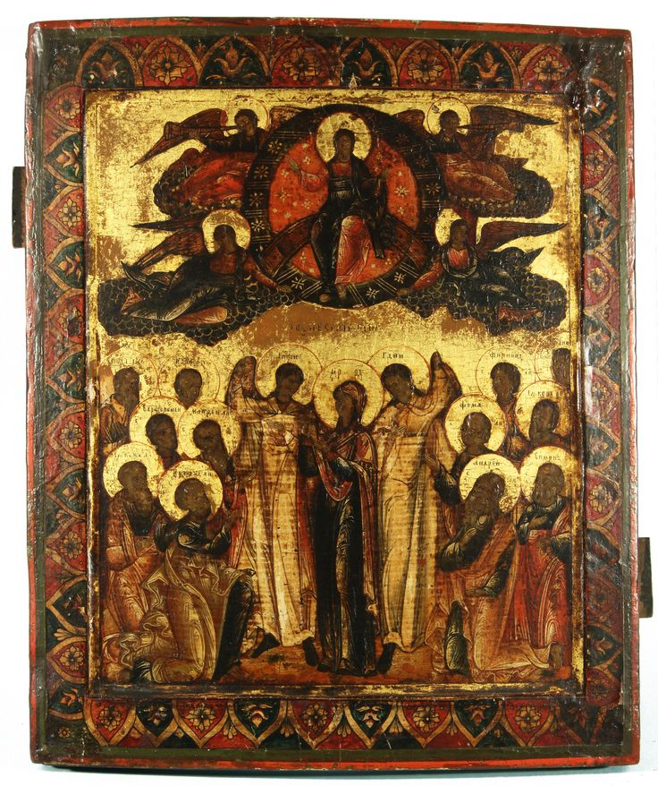 A RUSSIAN ICON OF CHRIST PRESIDING OVER AN ASSEMBLY OF SAINTS - egg tempera…