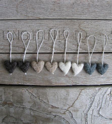 Neutral Felted Wool Heart Ornaments | These sweet little hearts ornaments are crafted from natural w... | Artificial Flowers