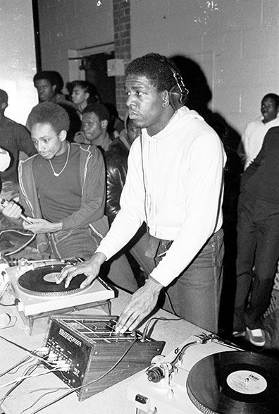 a young Red Alert and Dj Tony Tone at The Zulu Nation Anniversary Bronx River Projects 1980