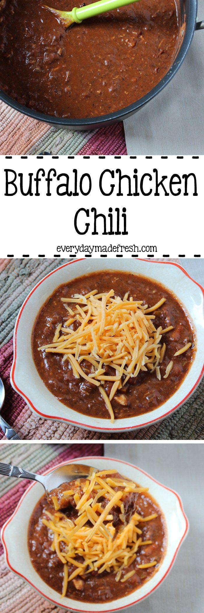 This Buffalo Chicken Chili is filled with shredded…Edit description