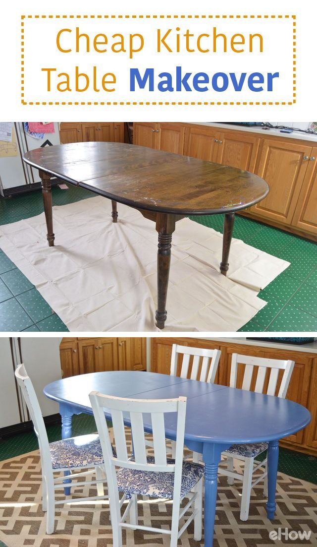 Transforming an inexpensive old table with chips and flaking finish is easier than you might think. With an afternoon and some attention to detail, a dreary eyesore can become a bright and cheerful centerpiece for your kitchen or dining room! http://www.ehow.com/how_5086341_paint-cheap-kitchen-table.html?utm_source=pinterest.com&utm_medium=referral&utm_content=freestyle&utm_campaign=fanpage