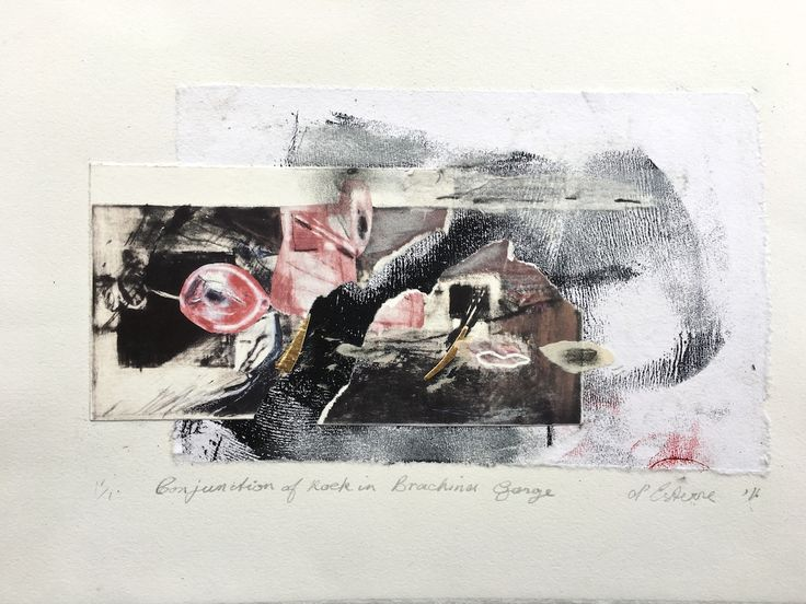 ELAINE d'ESTERRE - Conjunction of Rock in Brachina Gorge, 2016, etching collage, 30x42 cm. Also at http://elainedesterreart.com/ and http://www.facebook.com/elainedesterreart/ and http;//instagram.com/desterreart/