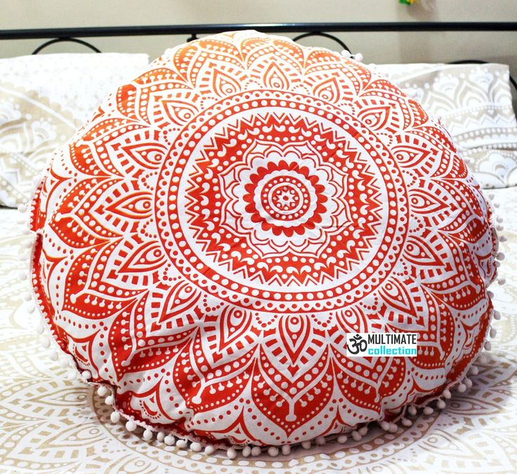 opal round cushion cover pom pom