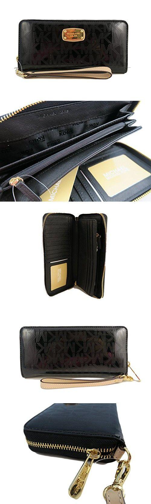 Michael Kors Black Jet Set Travel Continental Black Mirror Zip Around Wallet Wristlet
