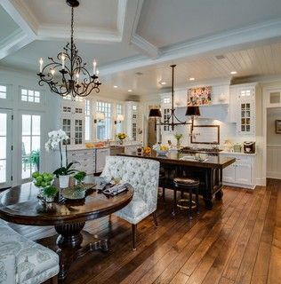 Kitchen - gorgeous - love the dining table and settee - beautiful cabinets and light fixture | Edward Postiff Interiors