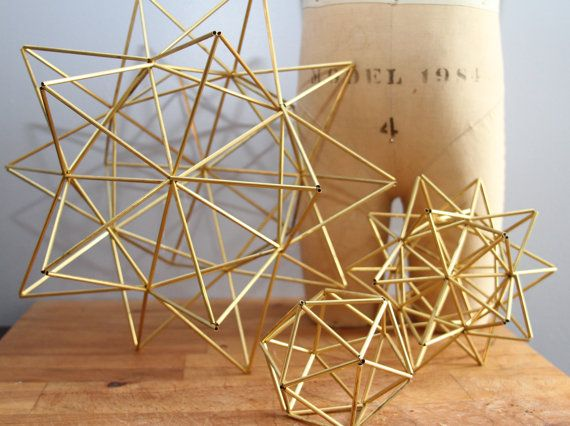 "Brass Pollen ball mobile finnish himmeli sculpture by meginsherry large 12.5"", other sizes too. $113"