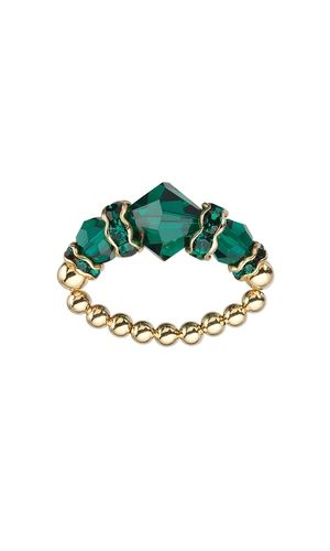 Ring with Swarovski® Crystal Beads and Gold-Plated Beads - Fire Mountain Gems and Beads
