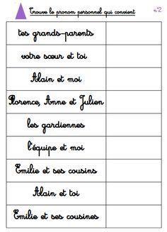 atelier d'étude de la langue : les pronoms personnels - La classe d'Eowin