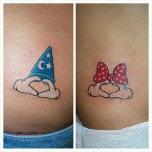 This modern spin on the classic duo: | 21 Disney Couple Tattoos Your Heart Will Dream About