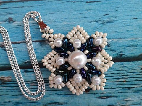 Fehér és kék  nyaklánc, #Ékszer, #óra, #Nyaklánc, #snowflake, #pendant, #bead
