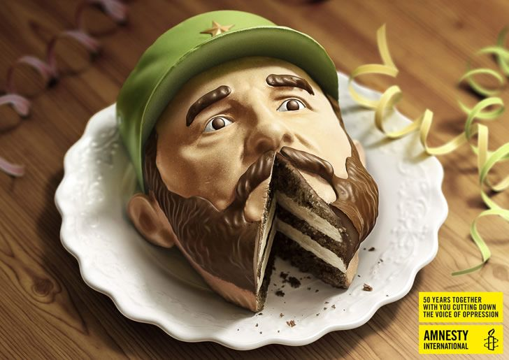"""Illusion: Creative agency Euro RSCG has envisioned a print advertising campaign for the 50th anniversary of Amnesty International, which includes two-cake-heads of Fidel Castro and Alexander Lukashenko. The slogan of the project is: """"50 years together with you, cutting down the voice of oppression.""""     http://illusion.scene360.com/design/27318/a-slice-out-of-dictators/"""
