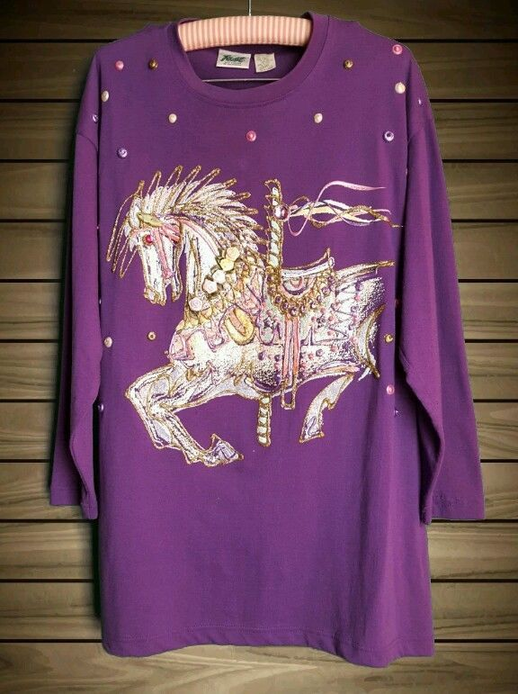 Women's 3D Carousel Horse Long Sleeve Shirt XL #Unbranded #Shirt #Everyday
