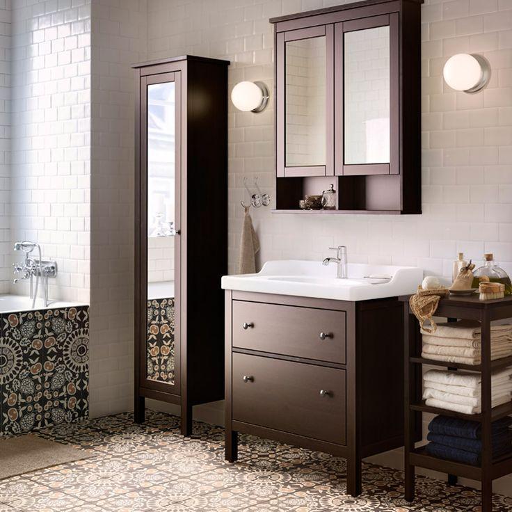 Ikea Waschtisch Untergestell ~   HEMNES Spiegelschrank mit 2 Türen und HEMNES Regal schwarzbraun