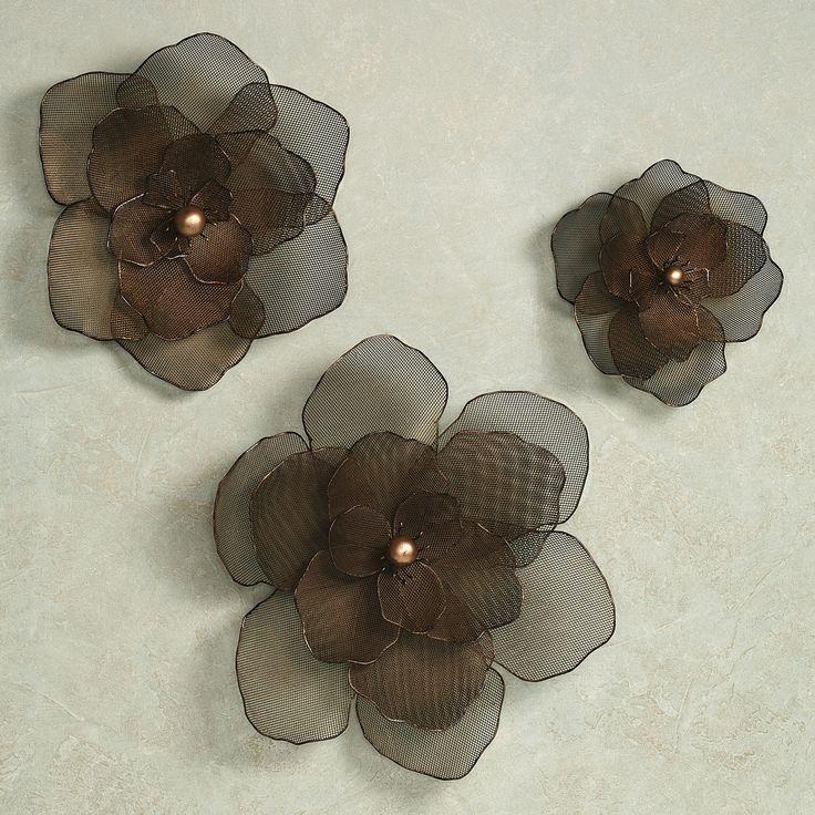 asataire flower blossom metal wall art set