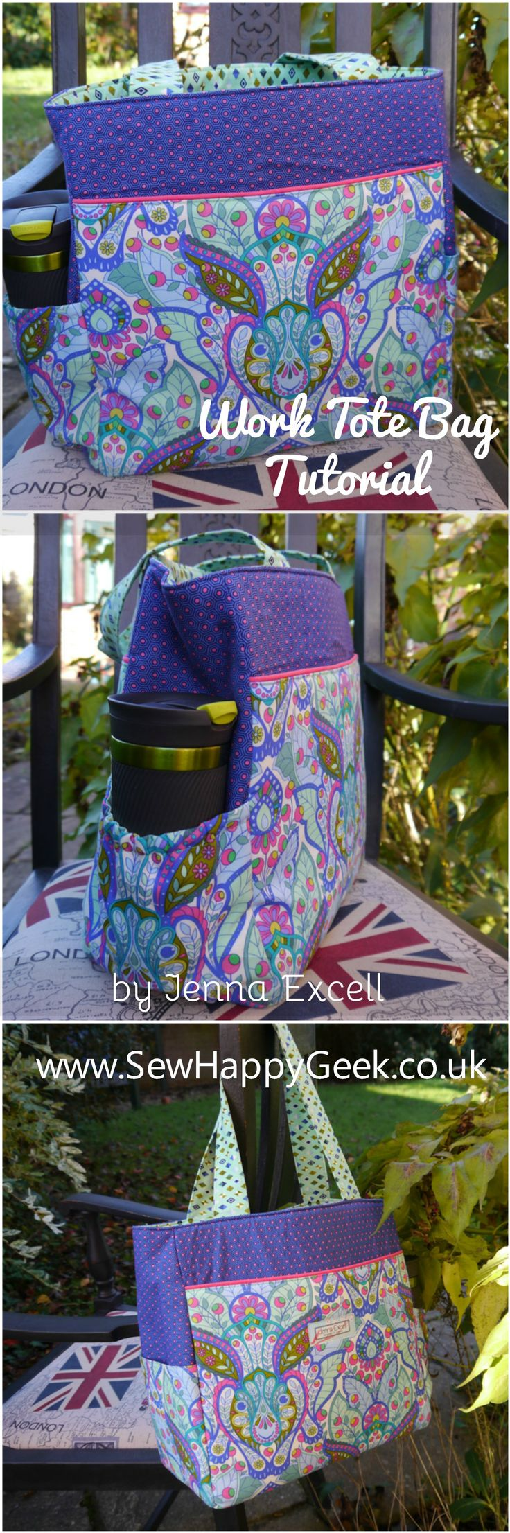 Tutorial: Take it to Work Tote Bag - Free Tote Sewing Pattern from SewHappyGeek
