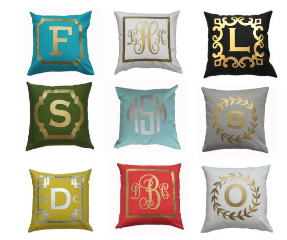 Monogram Throw Pillow Cover | CHOOSE 15 COLORS & FOIL. Wedding Pillow, Nursery Baby Pillow, Monogrammed, Gold, Silver