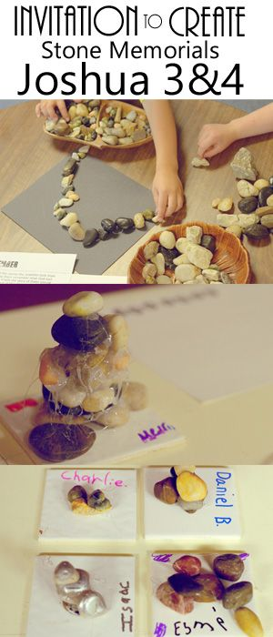 Invitation to create and wonder with stones in response to Crossing the Jordan story from Joshua chapter 3 and 4