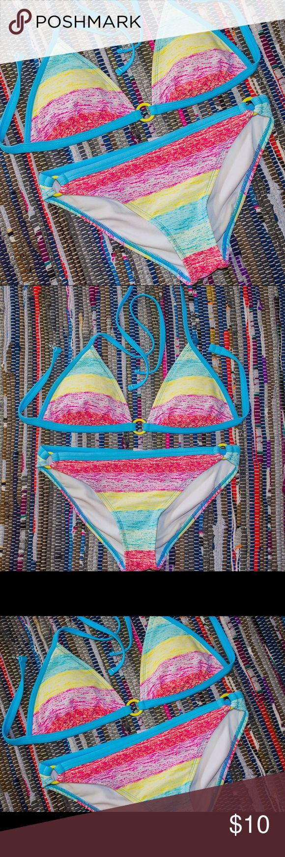 Rainbow Bikini 🌈 Target / top size small / bottoms size medium / removable pads / rainbow colorful pattern / clean and from good home / super hippy and cute / fits a small/med (Not VS..just for exposure) Victoria's Secret Swim Bikinis