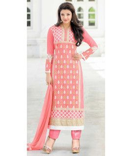 Dazzle Pink And White Georgette Salwar Suit.