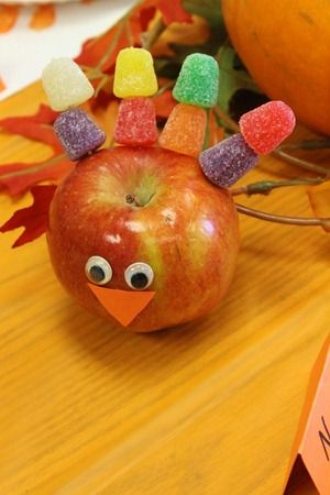 Thanksgiving snack: would change the beak to carrot and something else edible for eyes like raisins.