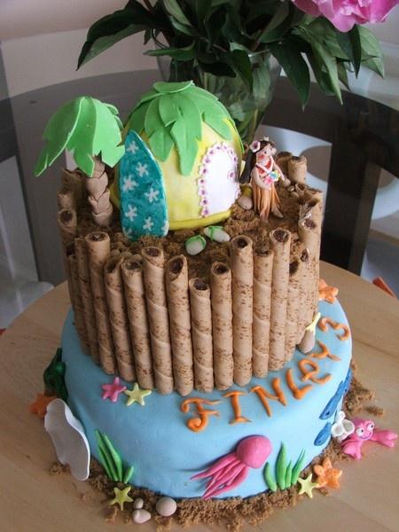 Hawaiian Theme Cake hawaiian-luau