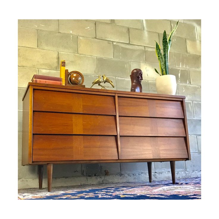 Ward Furniture Vintage 1960s Retro Lowboy Double Dresser W/Mounted Mirror by HautelAudubon on Etsy https://www.etsy.com/listing/531309884/ward-furniture-vintage-1960s-retro