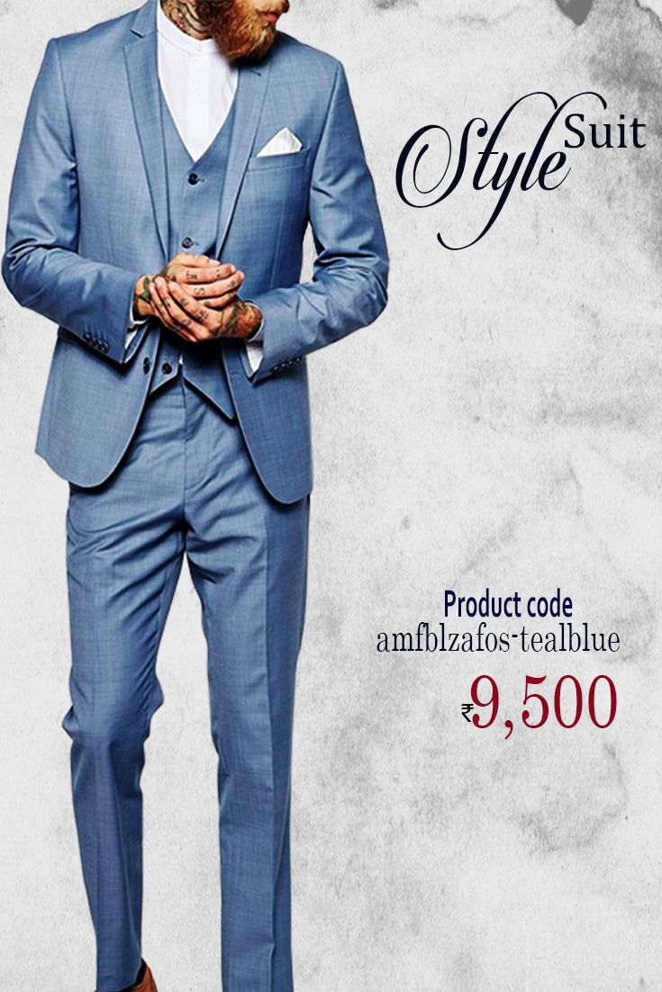 Teal Blue Terry Rayon #TuxedoSuit Simple yet elegant party wear Texedo Suit featuring fine Button Work. Teamed with trouser pant in Teal Blue and Satin shirt in White #menswear #stylish #fashion #onlineshopping #weddingwear #groomfashion #discount #buyonline #trending #blazersuit #designerblazersuit #thechoiceisyours
