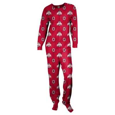 Ohio State Buckeyes Women S Red One Piece Footie Pajamas