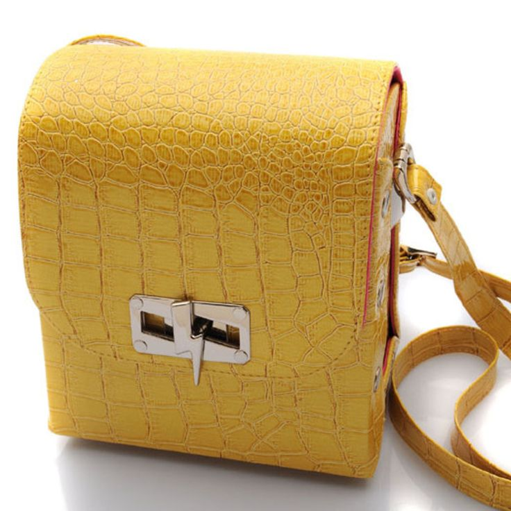 Yellow Croco Satchel