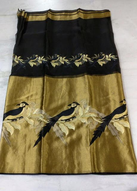 Pure Organza Sarees with Embroidery Work   Buy Online Organza Sarees   Elegant Fashion Wear