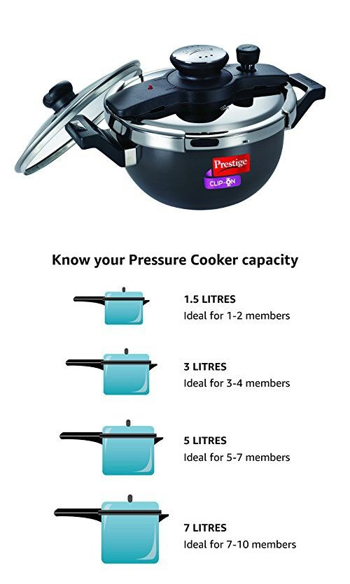 6efc90645 Prestige Clip On Hard Anodized Aluminum Kadai Pressure Cooker with Glass Lid  .