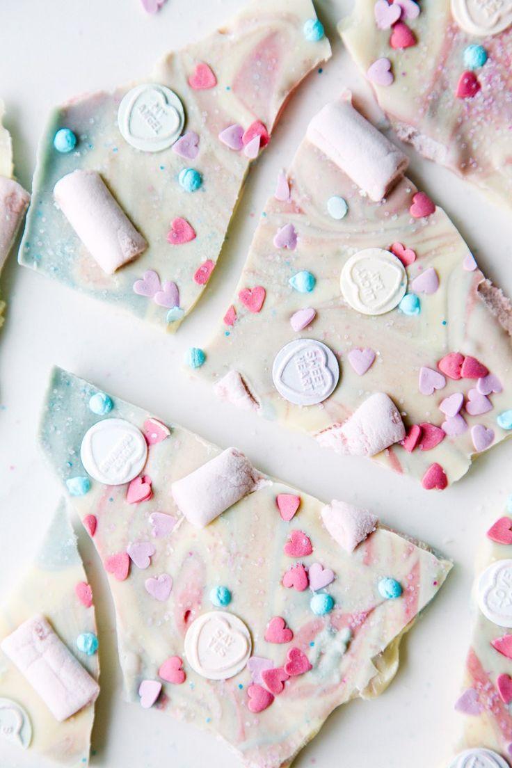 Love Hearts Chocolate Unicorn Bark (vegan + dairy-free)