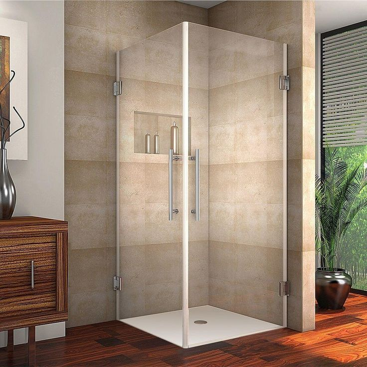 Aston Vanora 34 in. x 72 in. Frameless Square Shower Enclosure in Chrome with Self Closing Hinges-SEN989-CH-34-10 - The Home Depot