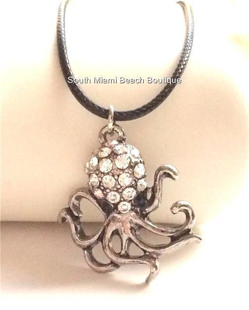 Silver Plated Crystal Octopus Necklace Black Cord Sea Life Beach USA Seller #SouthMiamiBeachBoutique #Pendant