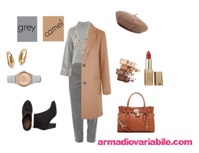 """""""camel coat and grey outfit"""" by armadiovariabile on Polyvore featuring moda, Piazza Sempione, Topshop, Louis Vuitton, A.P.C., Armani Exchange, Brixton, Palm Beach Jewelry, Maybelline e MICHAEL Michael Kors"""