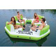 Intex Pacific Paradise Relaxation Station Water Lounge 4-Person River Tube Raft Image 2 of 5