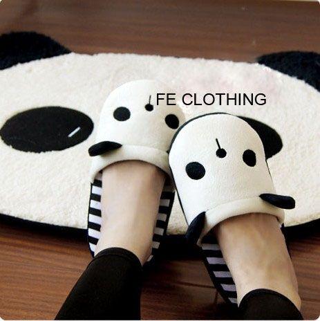 Cute Panda Plush Stripe Warm Slippers... I ... Sad to admit... Own these lol