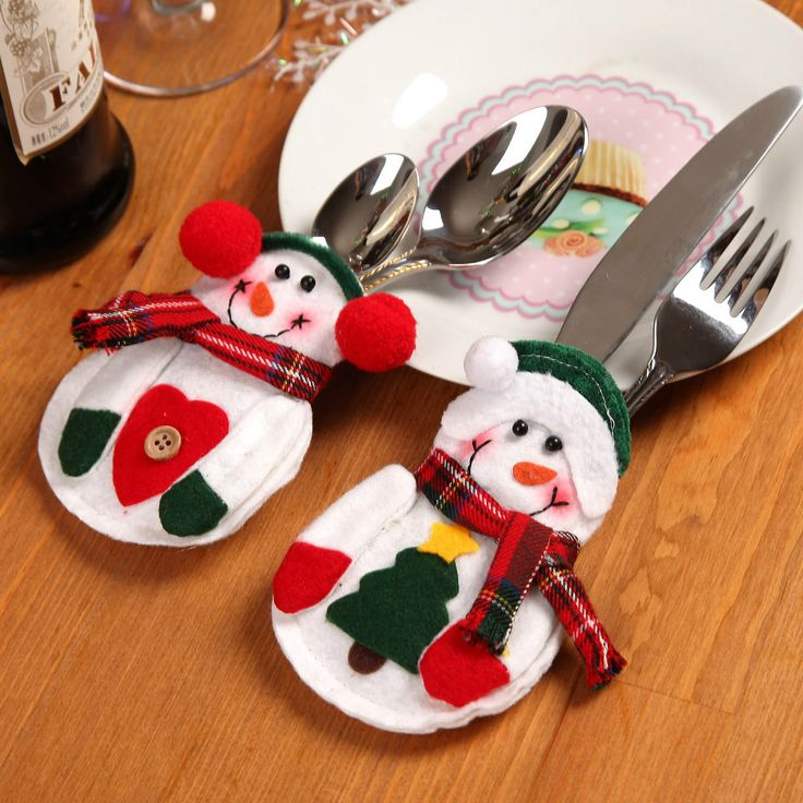 2pcs/set 2 Patterns Kitchen Cutlery Suit Holders Porckets Knifes Forks Bag Snowman Shaped Christmas Party Tree Decoration