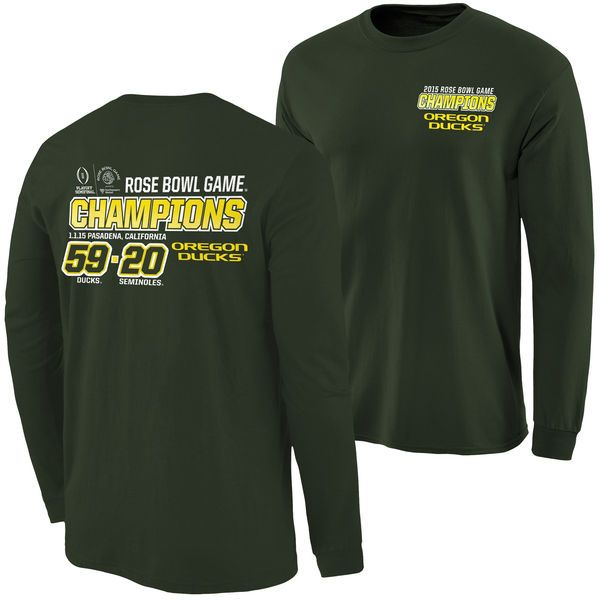Oregon Ducks 2015 Rose Bowl Champions Quick Score Long Sleeve T-Shirt - Green - $22.99