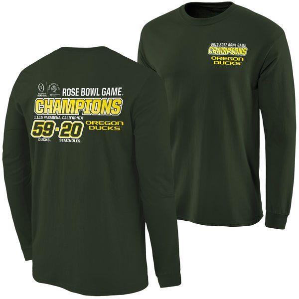 Oregon Ducks 2015 Rose Bowl Champions Quick Score Long Sleeve T-Shirt - Green - $22.99